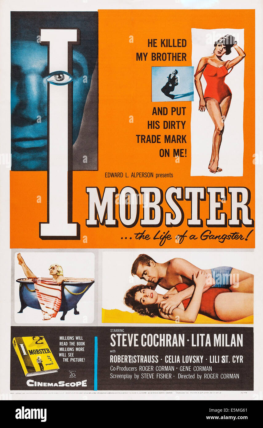 I MOBSTER, U.S. poster art, Steve Cochran, Lita Milan, 1958 - Stock Image