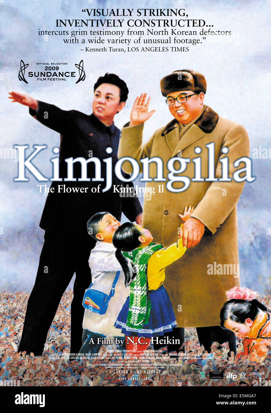 KIMJONGILIA, US poster art from a North Korean painting of KIM Il Sung (top right) and his son KIM Jong Il (left), - Stock Image