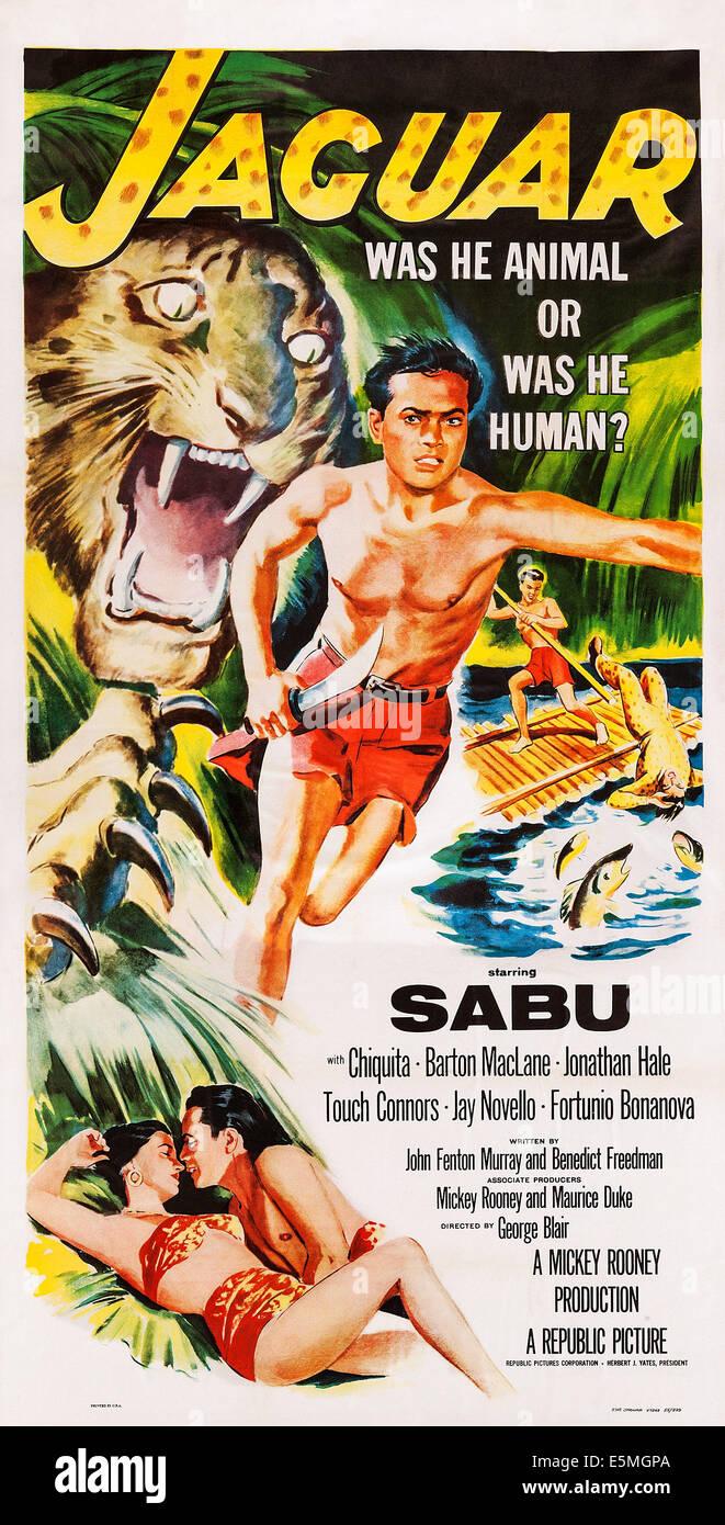JAGUAR, US poster art, Sabu, 1956 - Stock Image