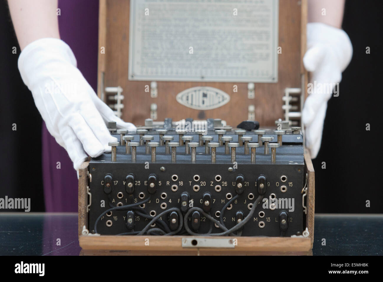 """Auction house Christie's presents items from the """"Out of the Ordinary"""" sale, London, UK. German Enigma cipher machine Stock Photo"""