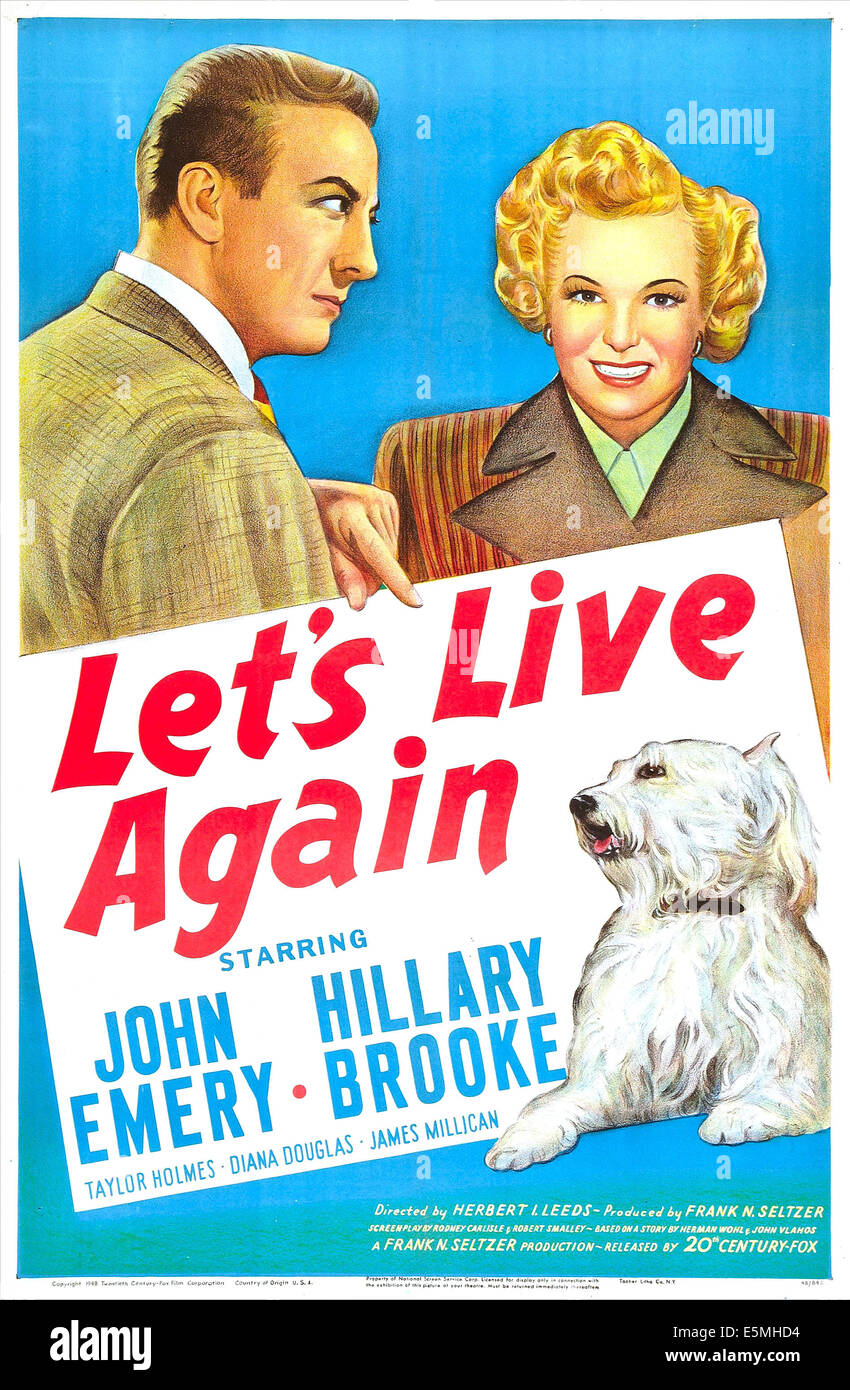 LET'S LIVE AGAIN, US poster, John Emery, Hillary Brooke, 1948. TM and copyright © 20th Century Fox Film - Stock Image