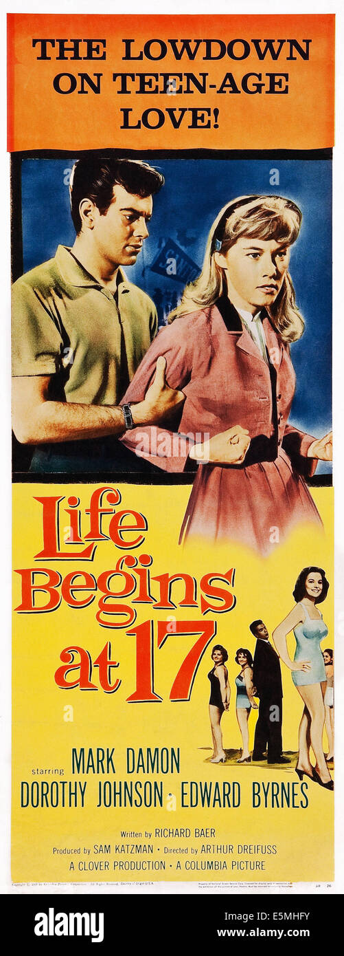 LIFE BEGINS AT 17, US poster art, top from left: Mark Damon, Luana Anders; bottom right: Dorothy Johnson, 1958 Stock Photo