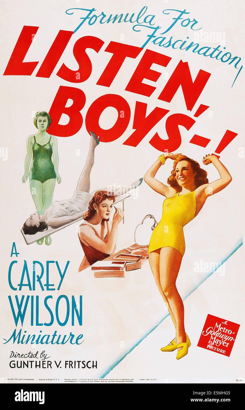 LISTEN, BOYS-!, poster art, 1942. - Stock Image