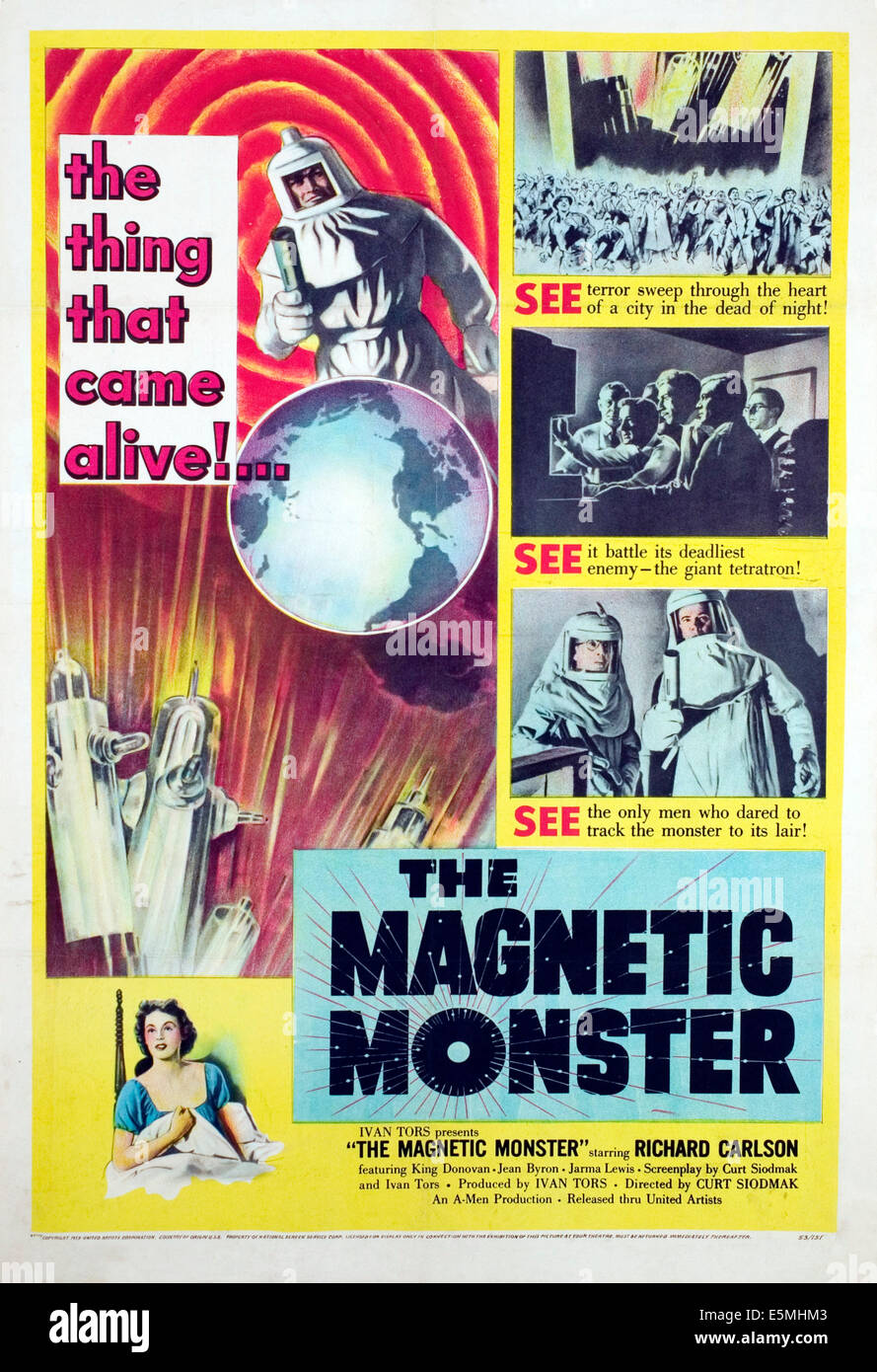THE MAGNETIC MONSTER, 1953. - Stock Image