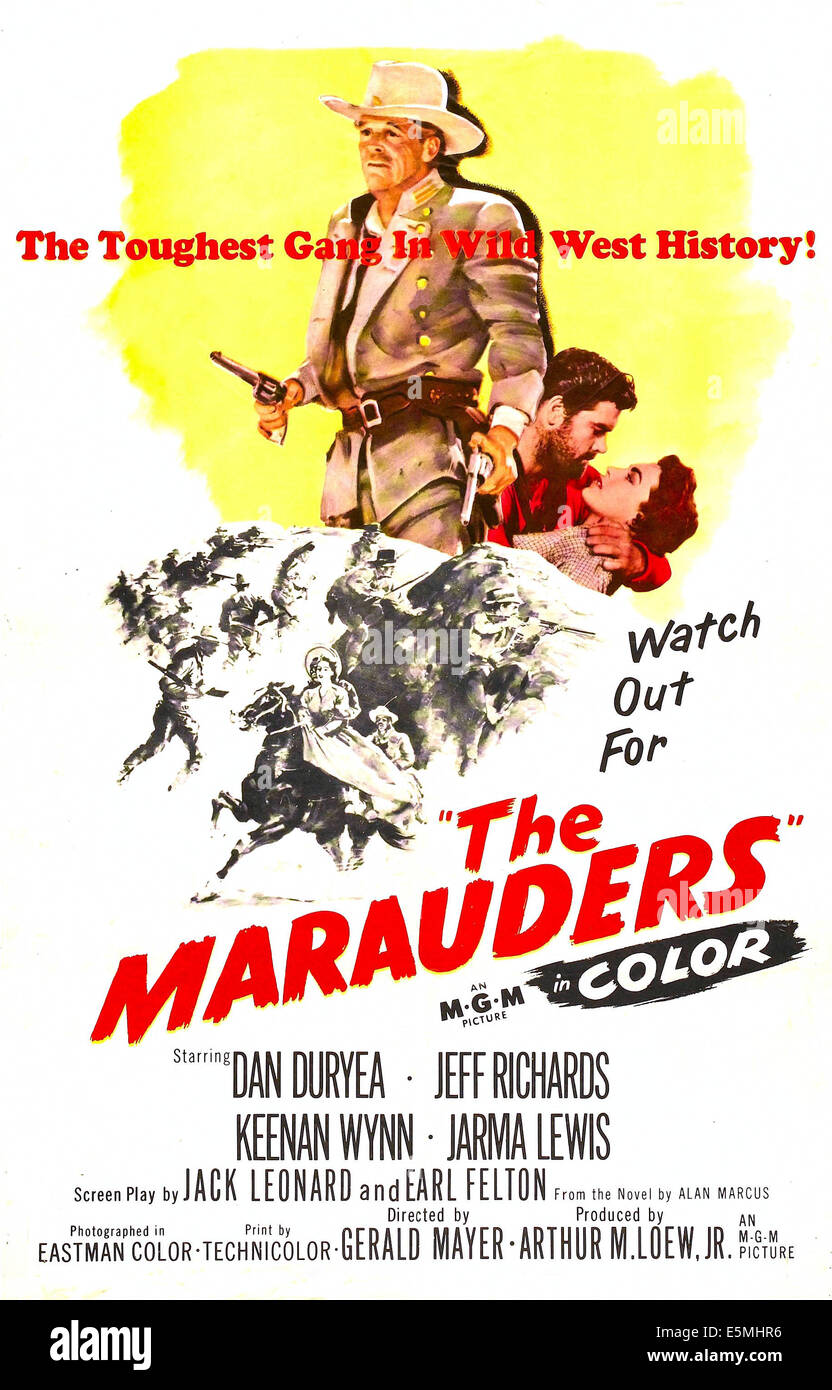 THE MARAUDERS, US poster art, 1955. - Stock Image