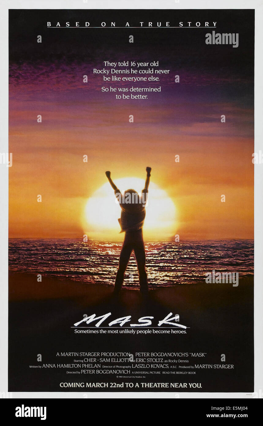 MASK, US advance poster art, 1985. ©Universal/courtesy Everett Collection - Stock Image