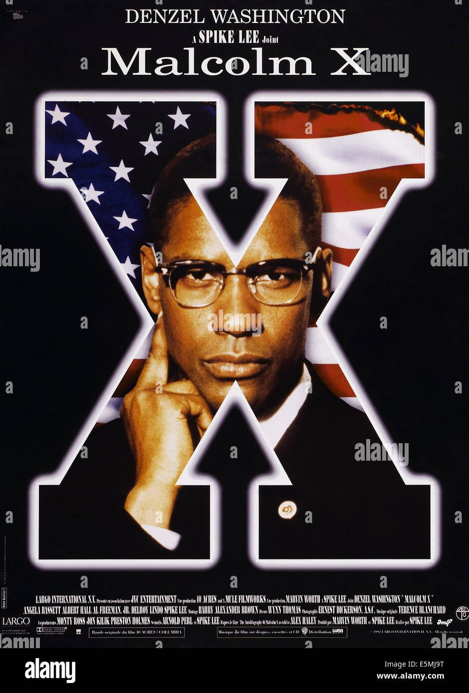 MALCOLM X, US poster, Denzel Washington, 1992, © Warner Brothers/courtesy Everett Collection - Stock Image