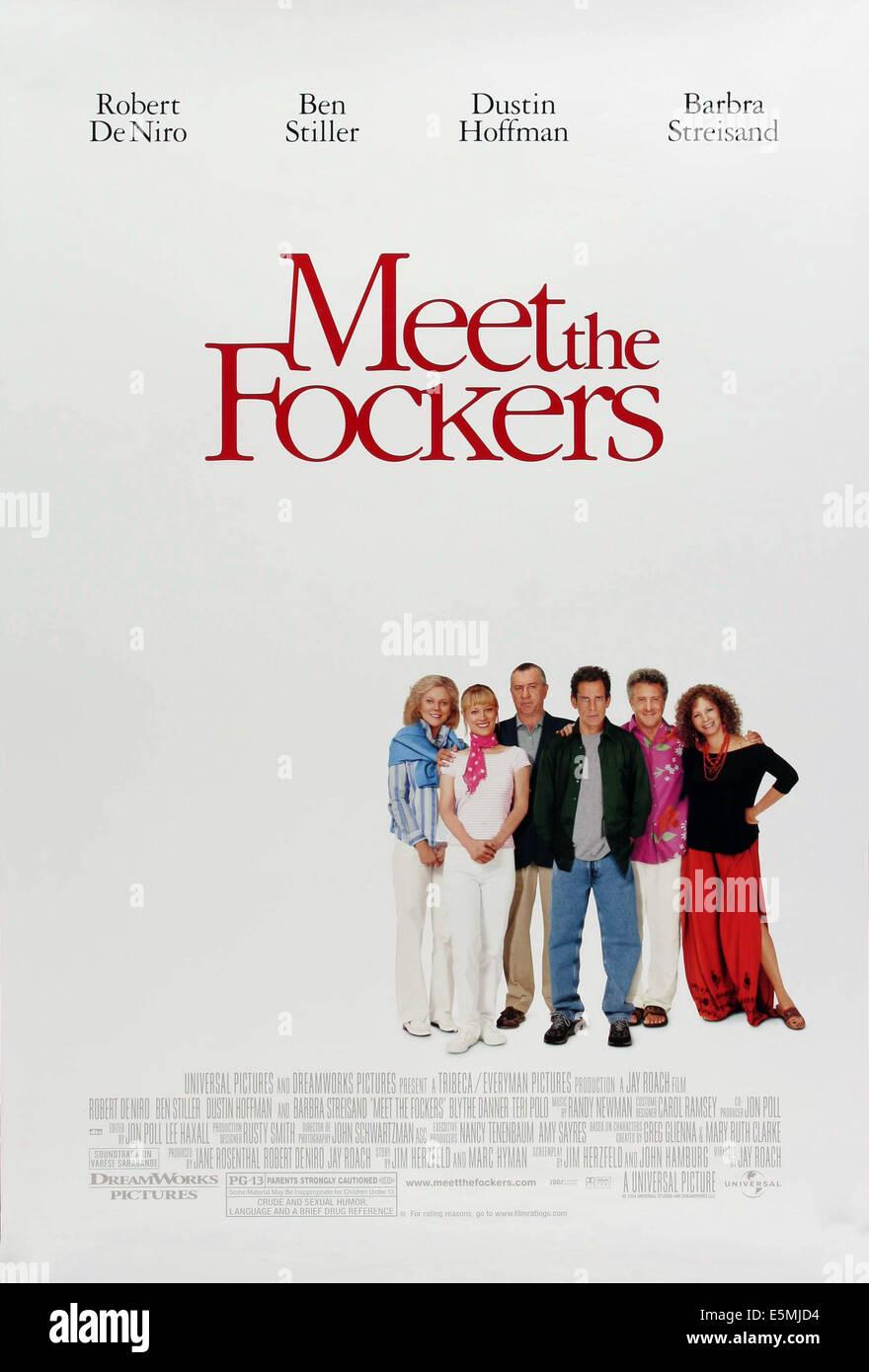 MEET THE FOCKERS, Blythe Danner, Teri Polo, Robert De Niro, Ben Stiller, Dustin Hoffman, Barbra Streisand, 2004, - Stock Image