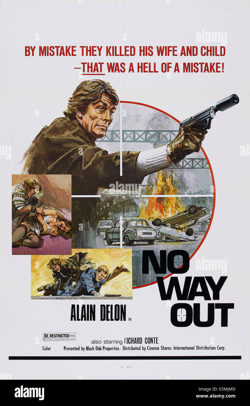 NO WAY OUT, (aka BIG GUNS - TONY ARZENTA), US poster, Alain Delon, 1973 - Stock Image