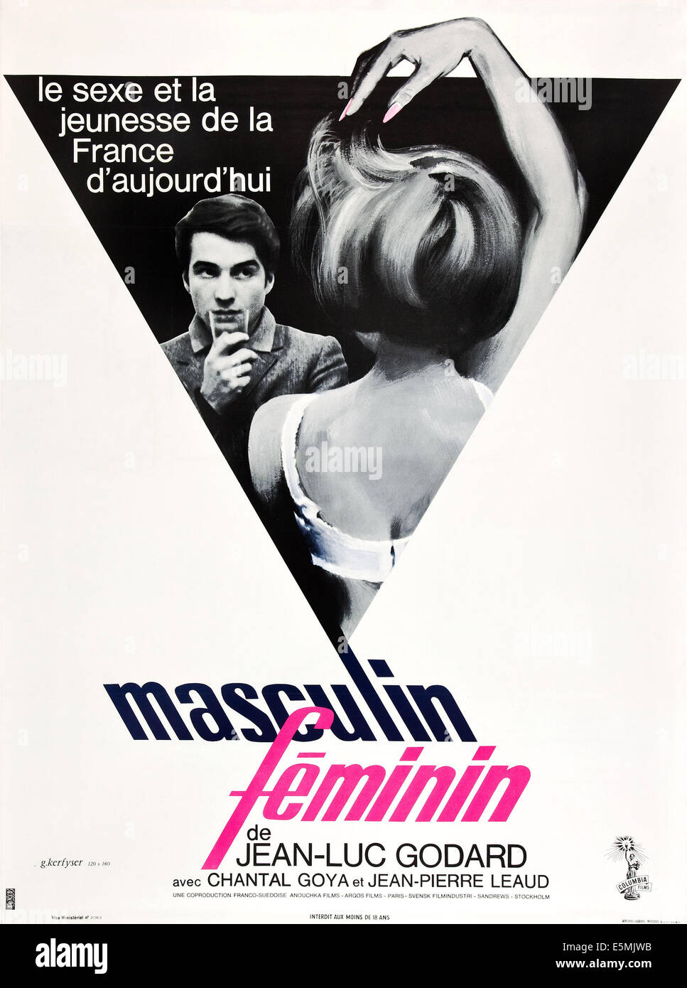 MASCULIN FEMININ, (aka MASCULINE, FEMININE, aka MASCULINE, FEMININE: IN 15 ACTS), Jean-Pierre Leaud on French poster - Stock Image