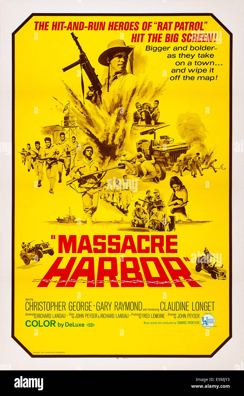 MASSACRE HARBOR, top: Christopher George on poster art, 1968 - Stock Image