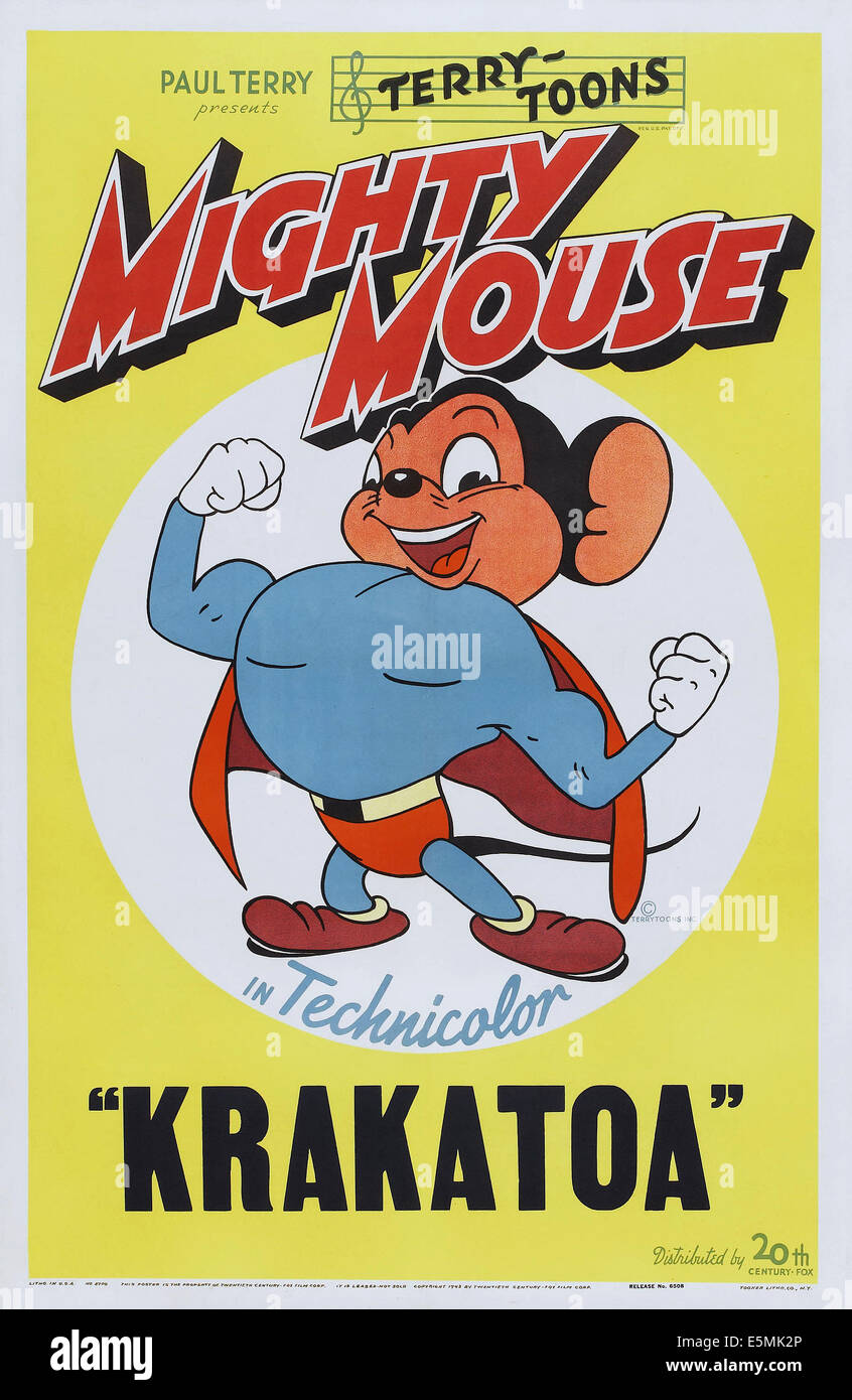 MIGHTY MOUSE IN KRAKATOA, Mighty Mouse on poster art, 1945, TM and Copyright ©20th Century Fox Film Corp. All - Stock Image