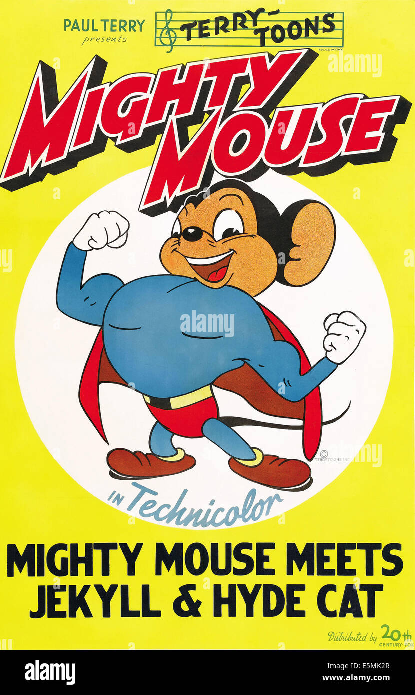 MIGHTY MOUSE MEETS JEKYLL AND HYDE CAT, Mighty Mouse, 1944, TM & Copyright © 20th Century Fox Film Corp./courtesy - Stock Image
