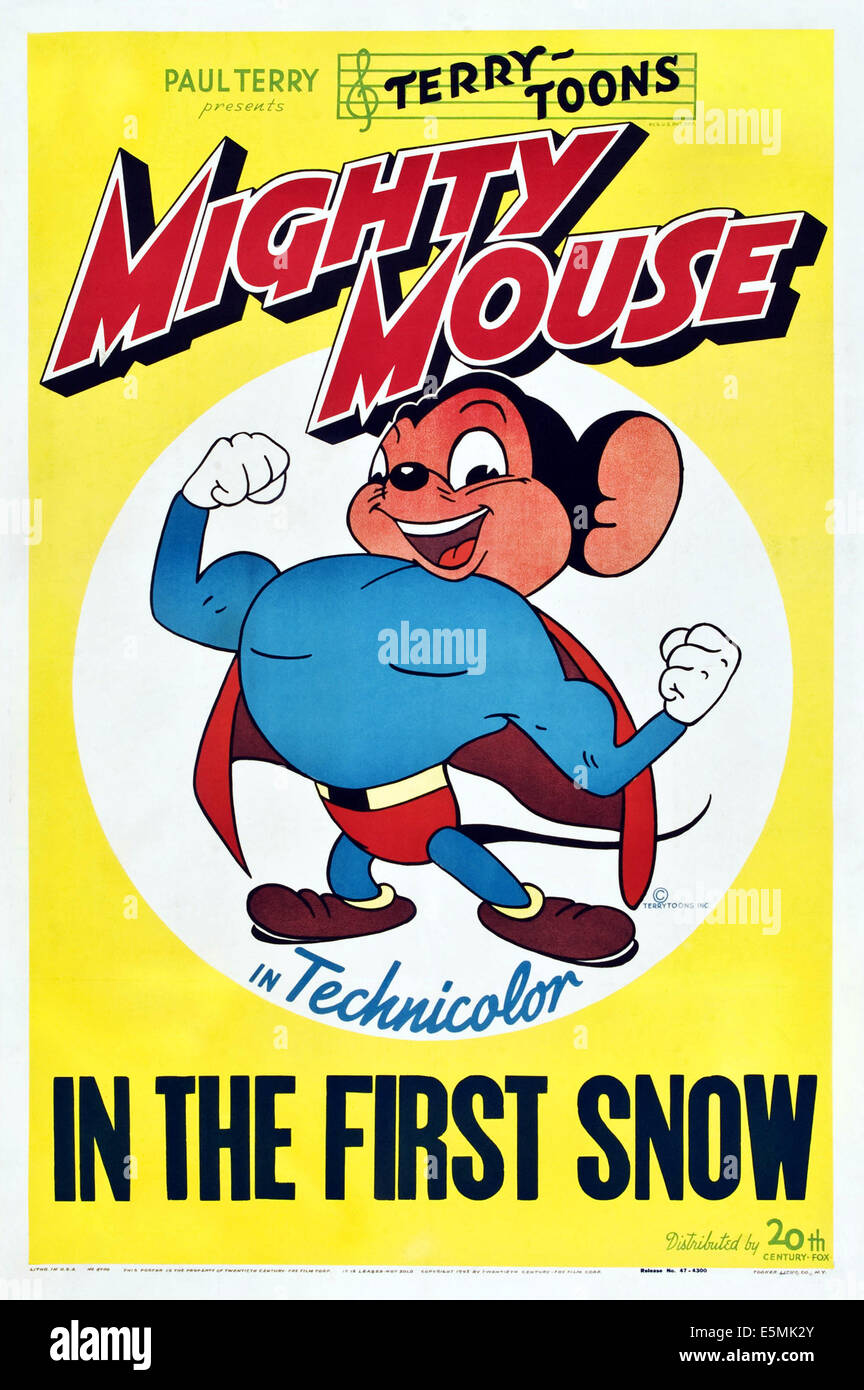 MIGHTY MOUSE IN THE FIRST SNOW, Mighty Mouse on poster art, 1947, TM and Copyright ©20th Century Fox Film Corp. - Stock Image