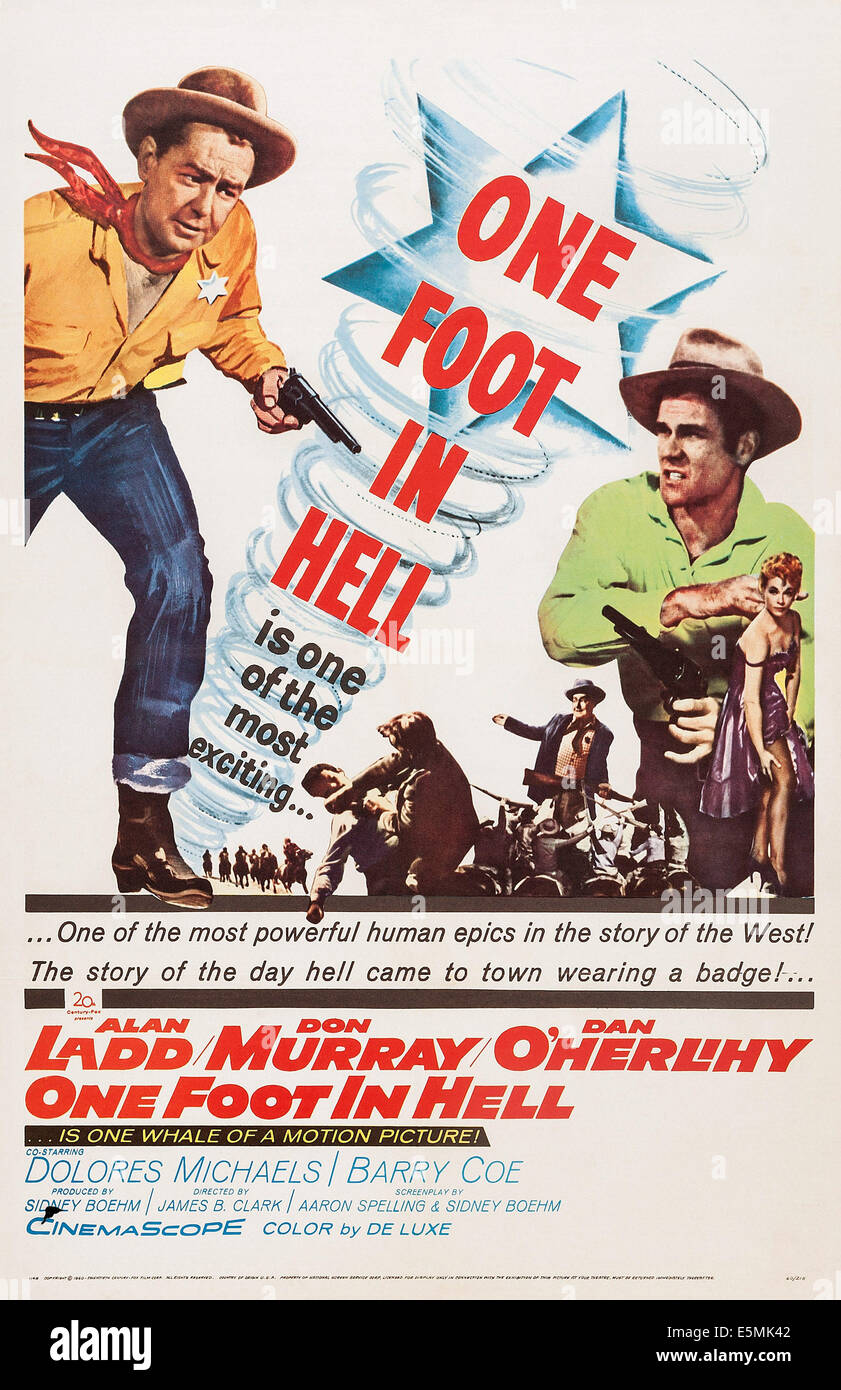 ONE FOOT IN HELL, US poster art, Alan Ladd (left), Don Murray (right), 1960. TM & Copyright ©20th Century - Stock Image