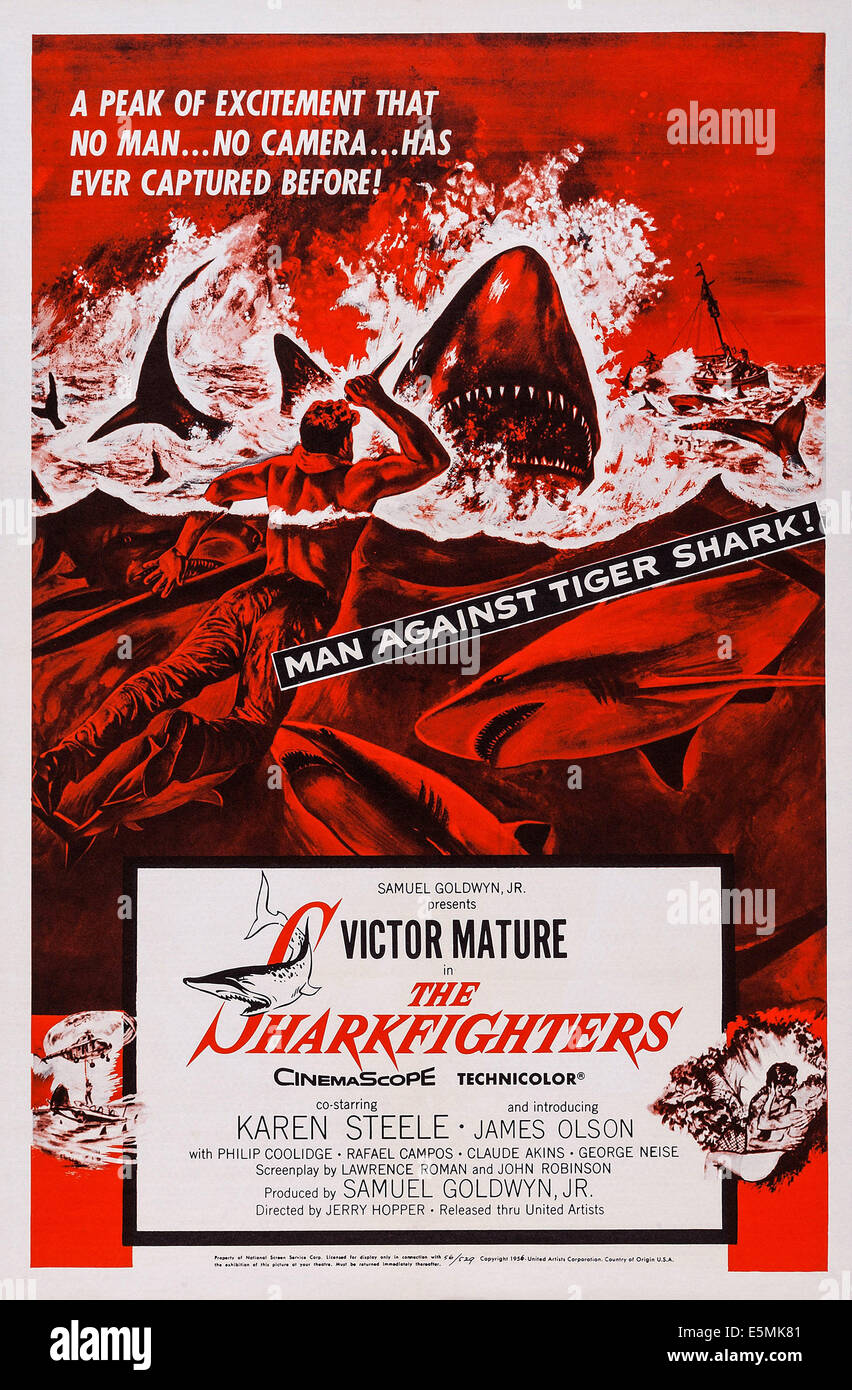 THE SHARKFIGHTERS, US poster art, 1956 - Stock Image