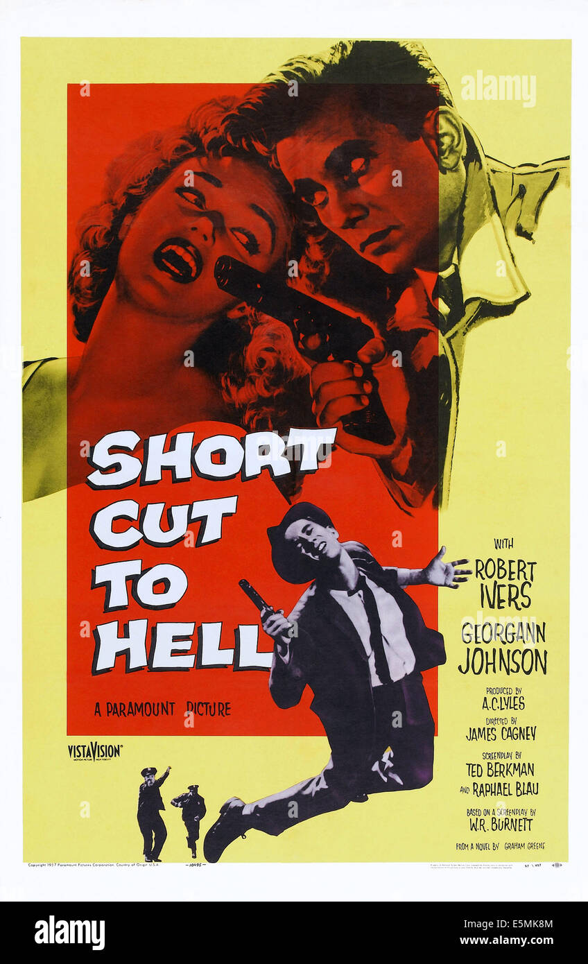 SHORT CUT TO HELL, top l-r: Georgann Johnson, Robert Ivers, bottom: Robert Ivers on poster art, 1957. Stock Photo
