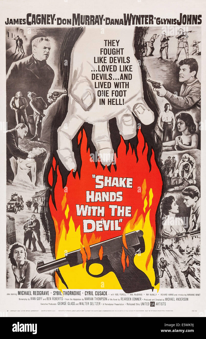 SHAKE HANDS WITH THE DEVIL, US poster, James Cagney (top left), Don Murray (top right), Glynis Johns (bottom left), - Stock Image