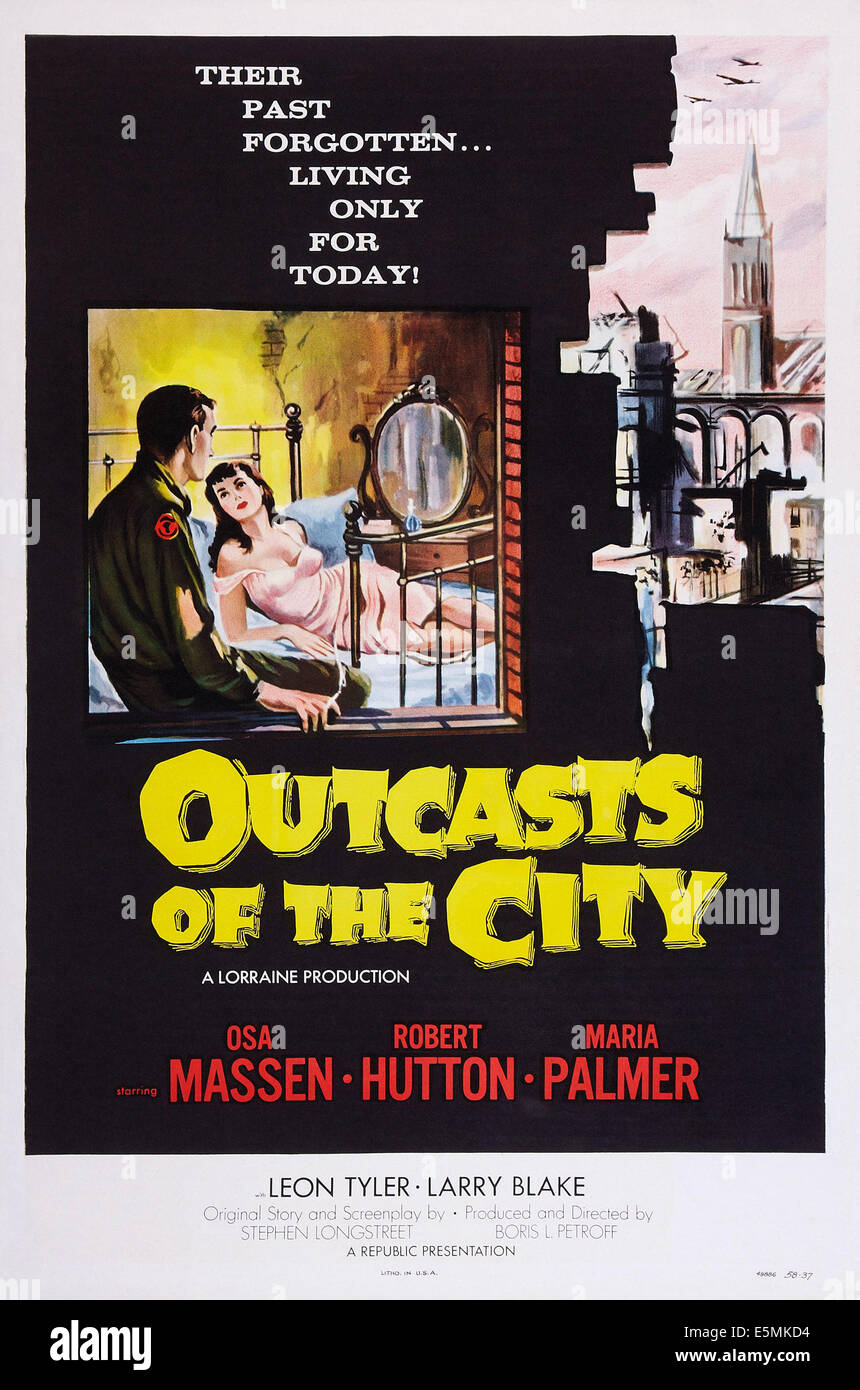 OUTCASTS OF THE CITY, US poster art, from left: Robert Hutton, Maria Palmer, 1958 - Stock Image