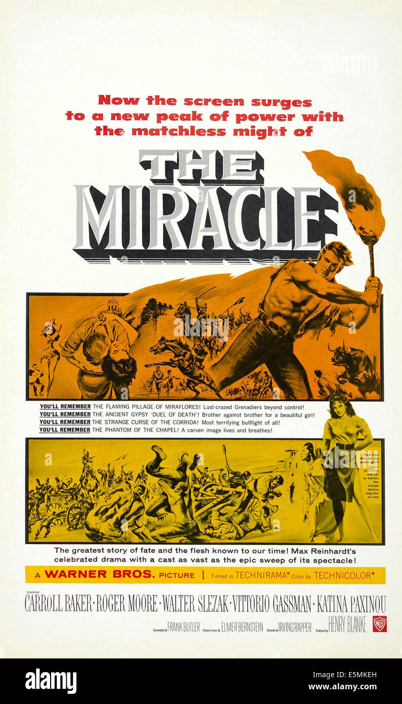 THE MIRACLE US poster art, 1959. - Stock Image