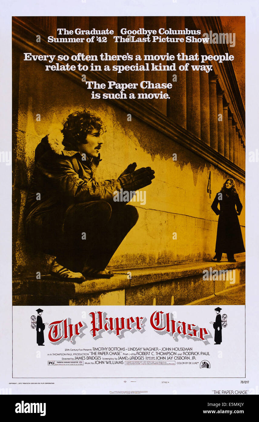 Paper chase stock photos paper chase stock images alamy the paper chase us poster art from left timothy bottoms lindsay wagner gumiabroncs Choice Image