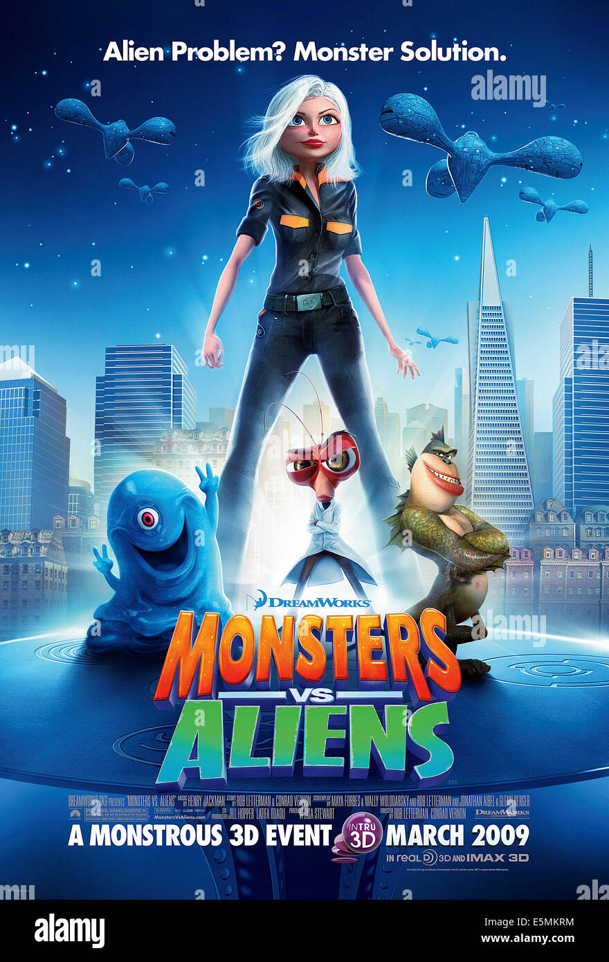 MONSTERS VS. ALIENS, from left: B.O.B. (voice: Seth Rogen), Ginormica (voice: Reese Witherspoon), Dr. Cockroach - Stock Image