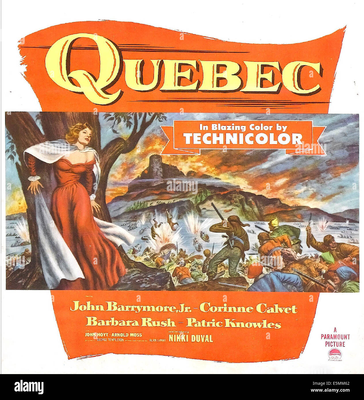 QUEBEC, US poster art, 1951. - Stock Image