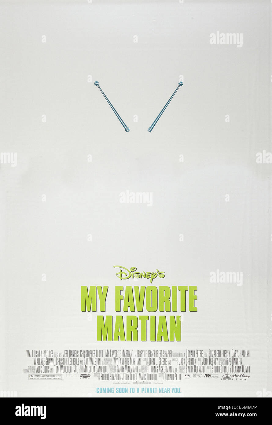 MY FAVORITE MARTIAN, US advance poster art, 1999, © Buena Vista/courtesy Everett Collection - Stock Image