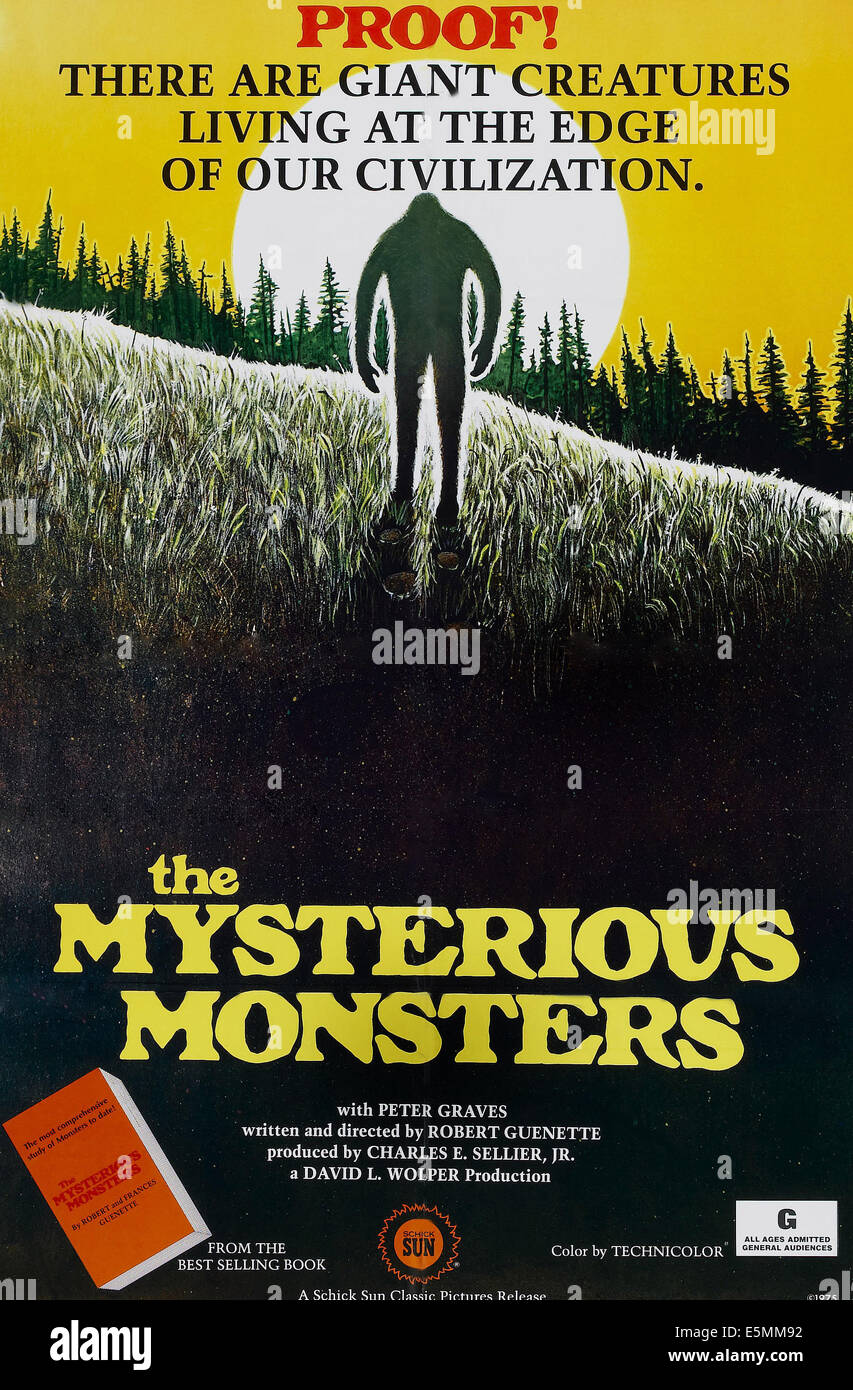 THE MYSTERIOUS MONSTERS, poster art, 1976. - Stock Image