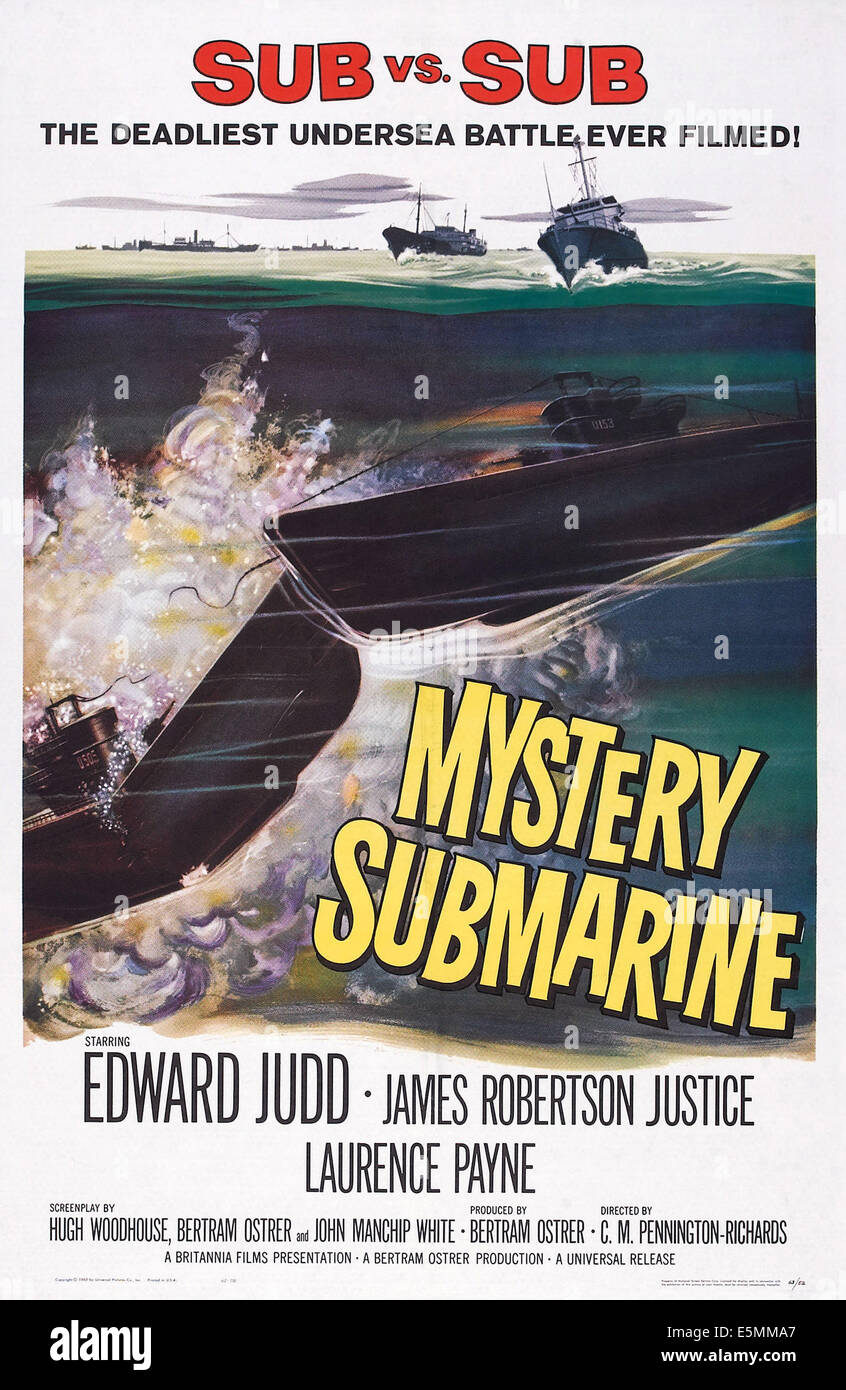 MYSTERY SUBMARINE, poster art, 1963. - Stock Image