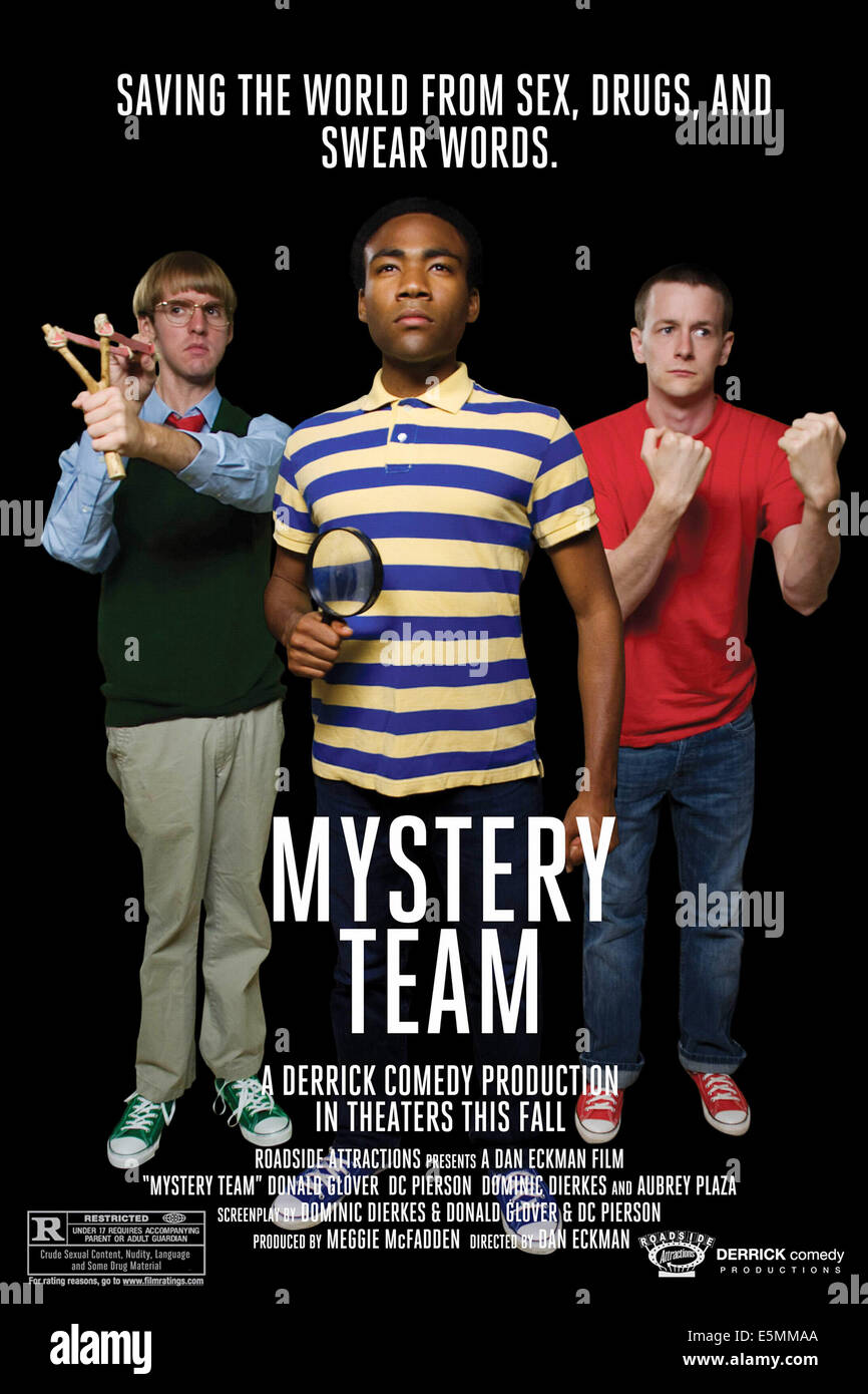 MYSTERY TEAM, from left: D.C. Pierson, Donald Glover, Dominic Dierkes, 2009. ©Roadside Attractions/Courtesy - Stock Image