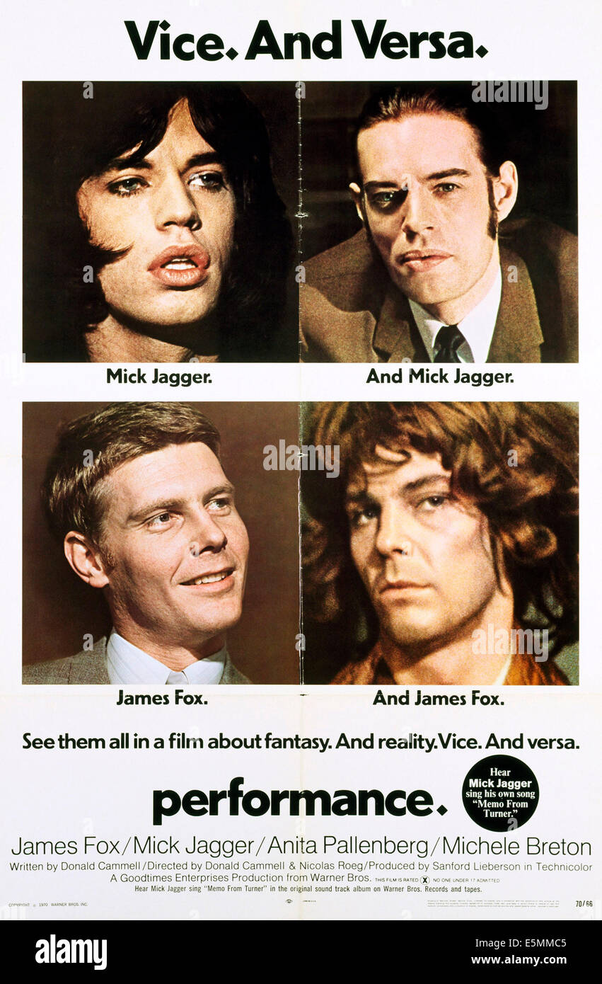PERFORMANCE, Mick Jagger (top l and r.), James Fox (bottom l and r), 1970 - Stock Image