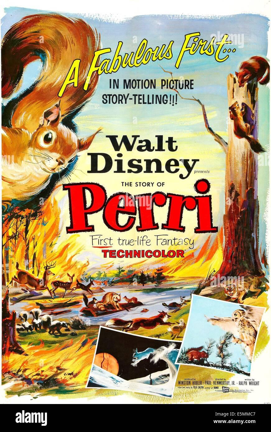 PERRI, US poster art, 1957. - Stock Image