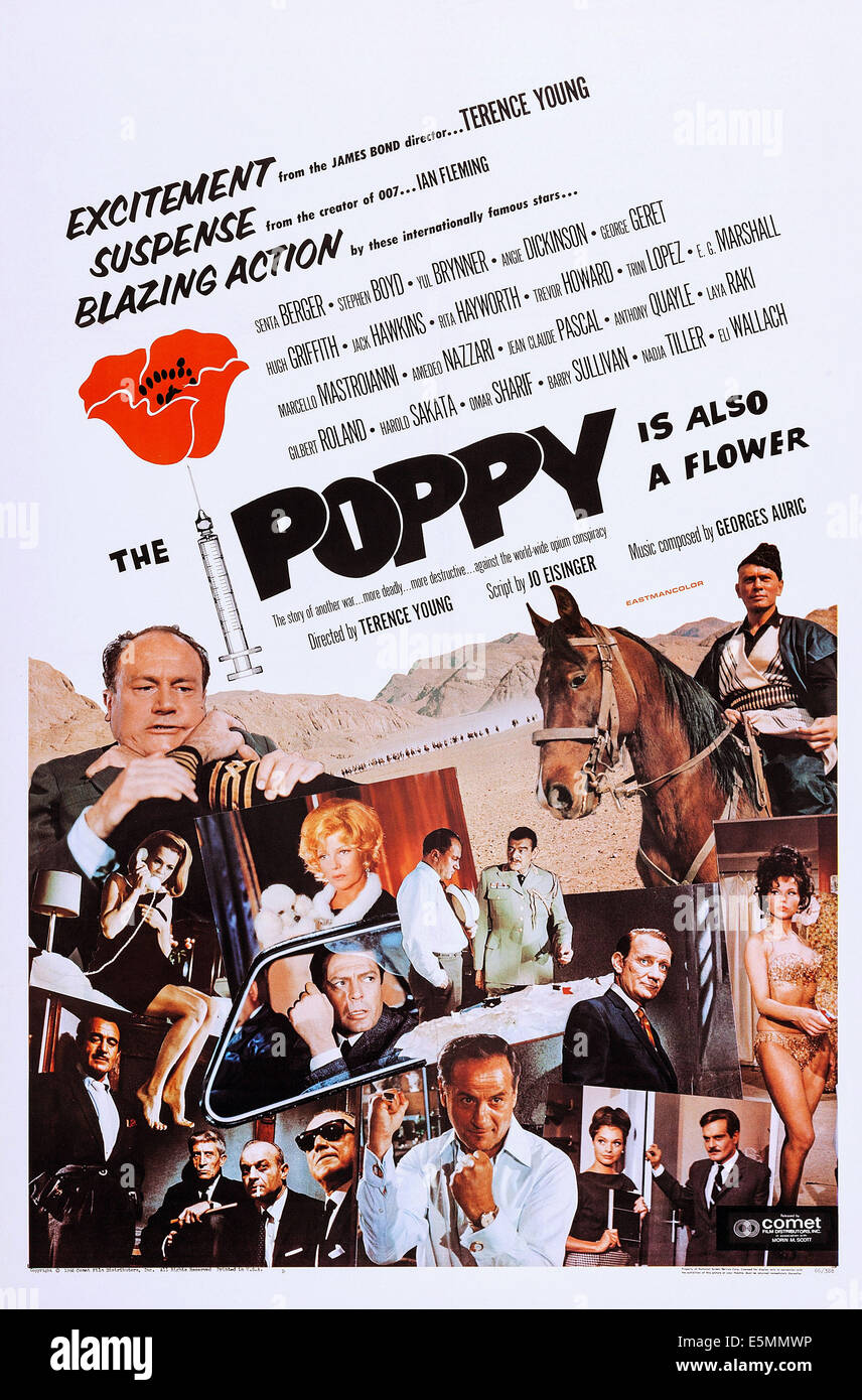 THE POPPY IS ALSO A FLOWER, (aka POPPIES ARE ALSO FLOWERS, aka DANGER GROWS WILD), US poster art, E. G. Marshall, - Stock Image