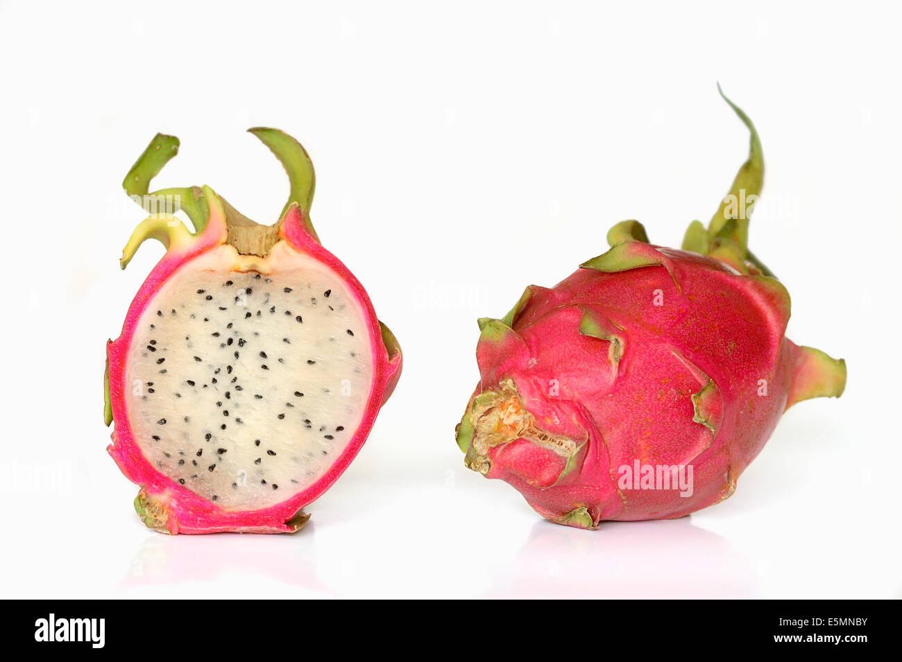Red Dragon Fruit or Red Pitahaya (Hylocereus undatus) - Stock Image