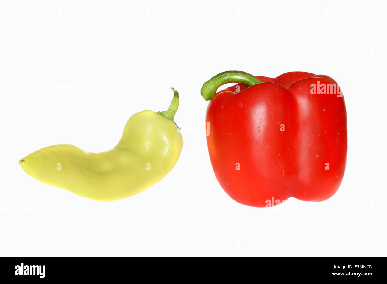 Red and green Pepper fruits (Capsicum annuum) - Stock Image