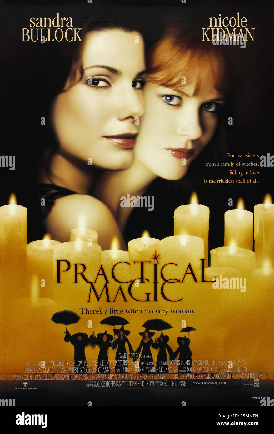 PRACTICAL MAGIC, from left, Sandra Bullock, Nicole Kidman, 1998, ©Warner Brothers/courtesy Everett Collection - Stock Image