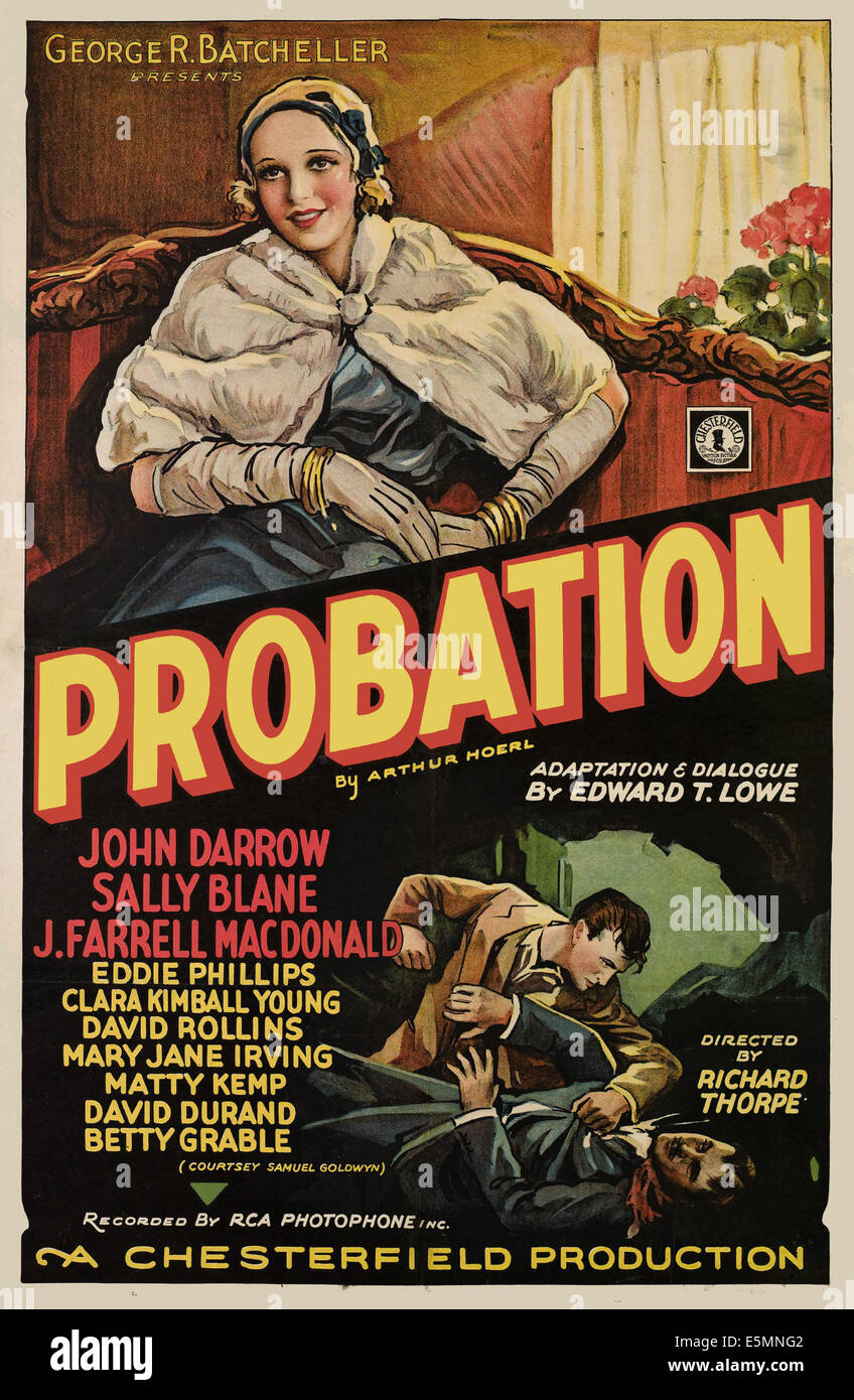 PROBATION, (aka SECOND CHANCES), Sally Blane, 1932 - Stock Image