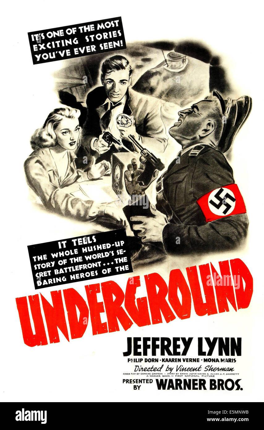 UNDERGROUND, US poster, from left: Kaaren Verne, Philip Dorn, 1941 - Stock Image