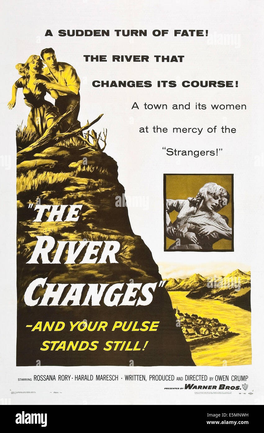 THE RIVER CHANGES, poster art, 1956. - Stock Image