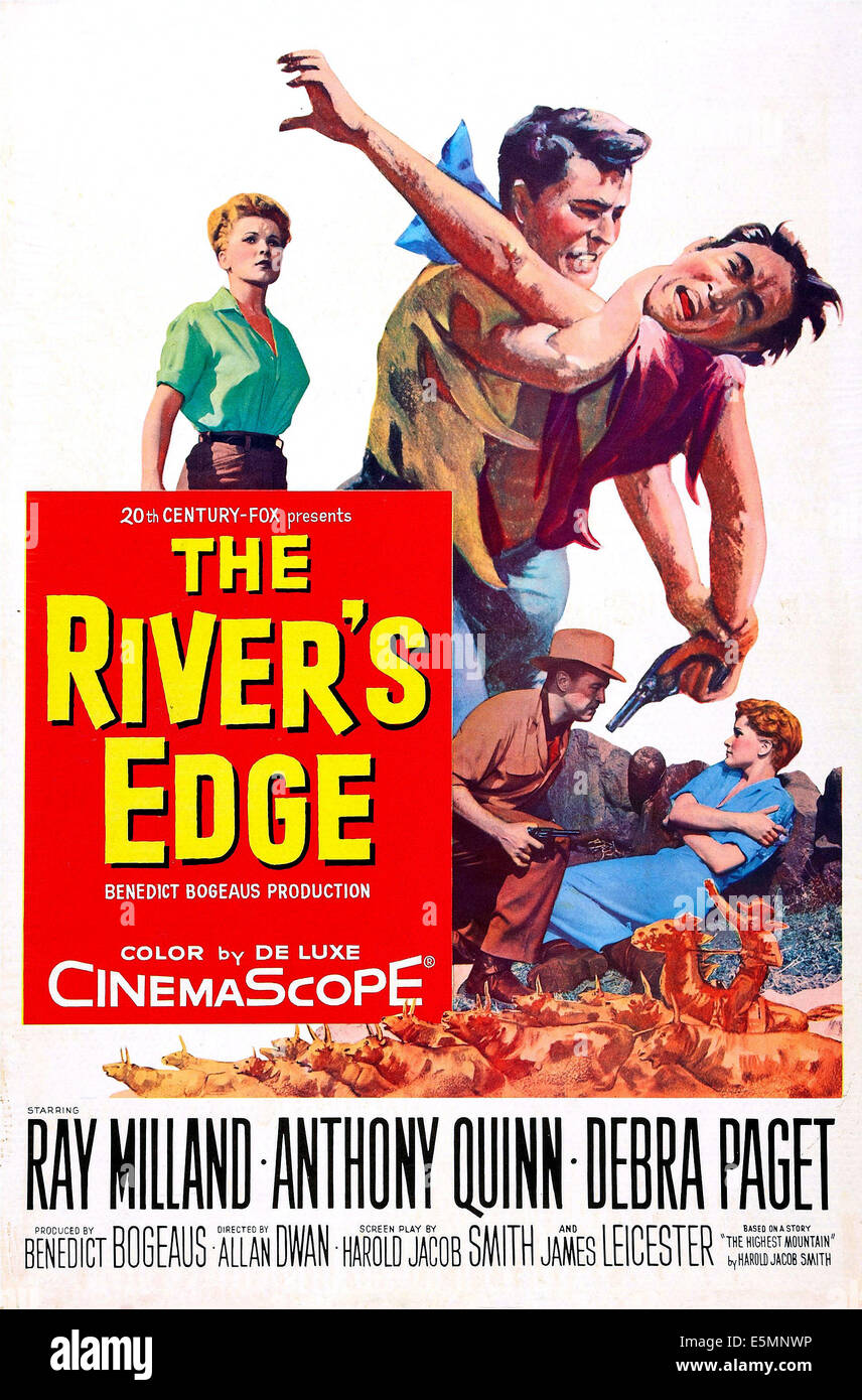 THE RIVERS EDGE, US poster art, from left: Debra Paget, Ray Milland , Anthony Quinn, 1957.  TMand copyright  20th - Stock Image