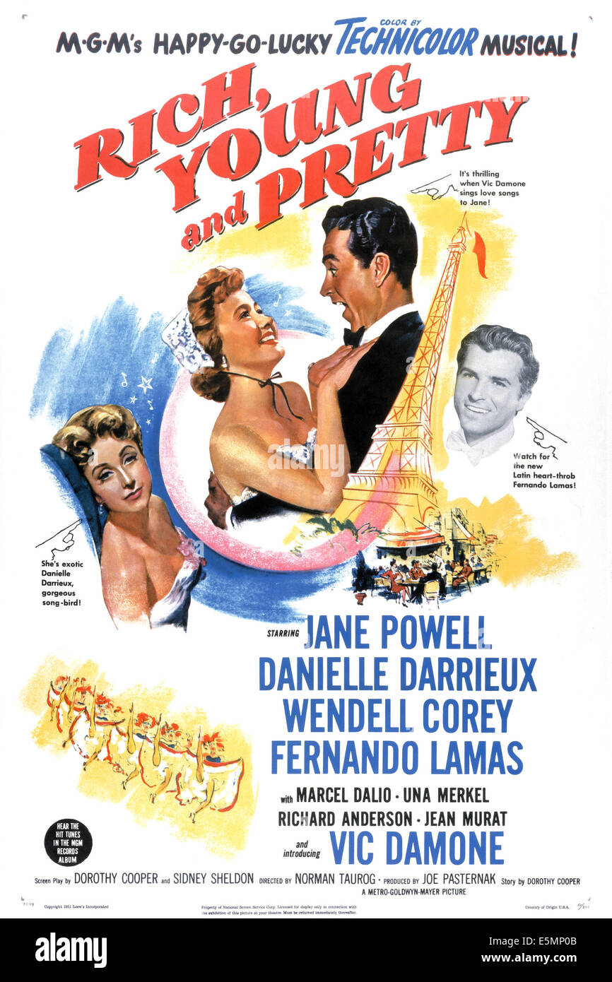 RICH, YOUNG AND PRETTY, Danielle Darrieux, Jane Powell, Vic Damone, Fernando Lamas, 1951 - Stock Image