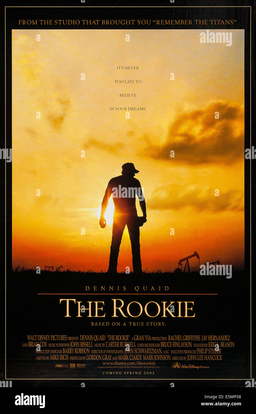 THE ROOKIE, US advance poster art, 2002. ©Buena Vista Pictures/courtesy Everett Collection - Stock Image
