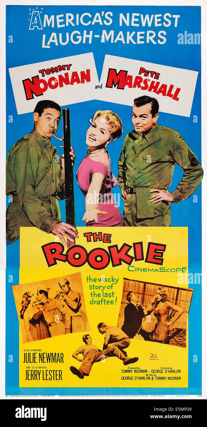 THE ROOKIE, US poster, from left: Tommy Noonan, Julie Newmar, Peter Marshall, 1959. TM & Copyright ©20th - Stock Image