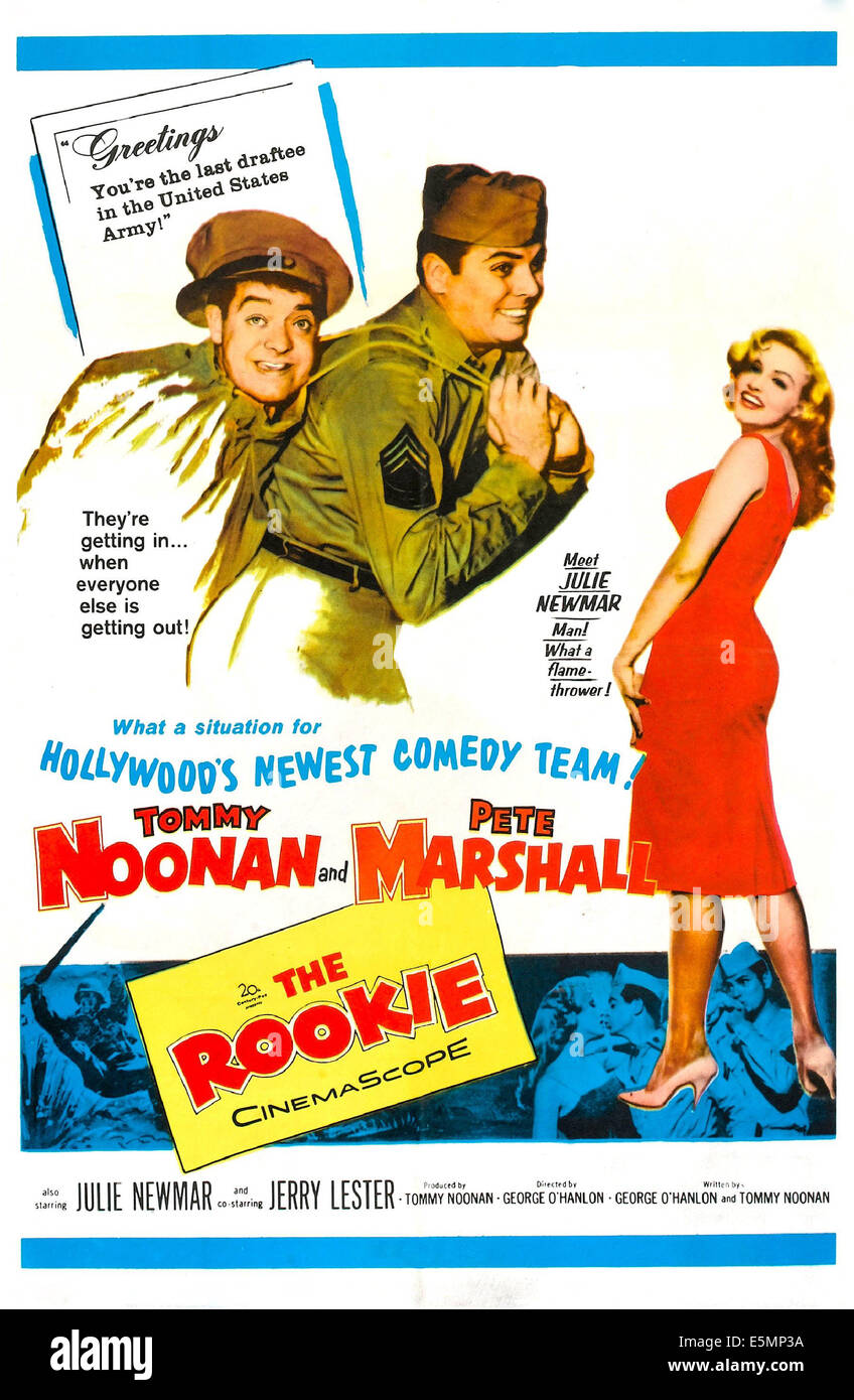 THE ROOKIE, US poster, from left: Tommy Noonan, Peter Marshall, Julie Newmar, 1959, TM & Copyright © 20th - Stock Image