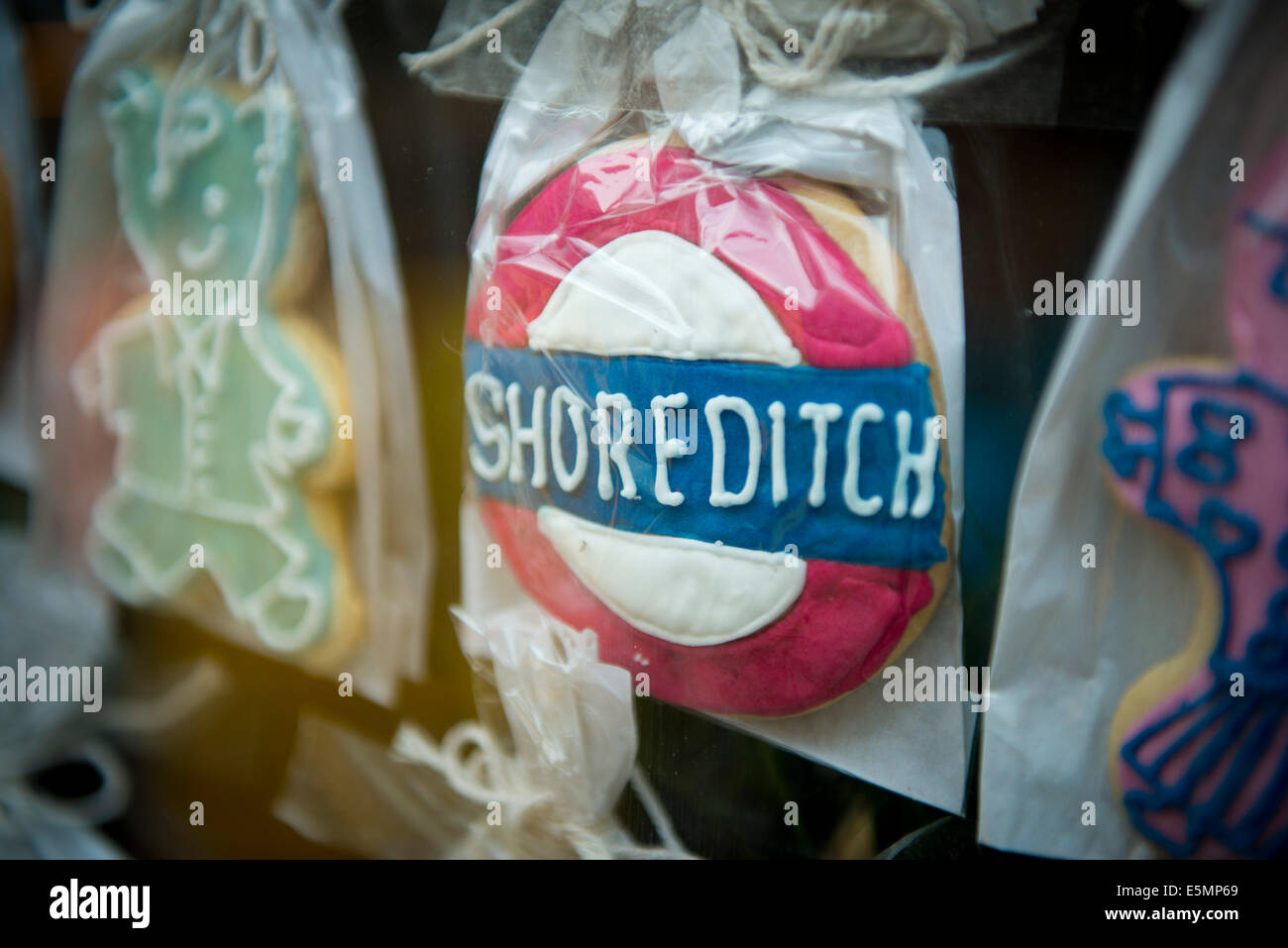 Decorated biscuits, Brick Lane Shoreditch, East London, UK 2014 - Stock Image