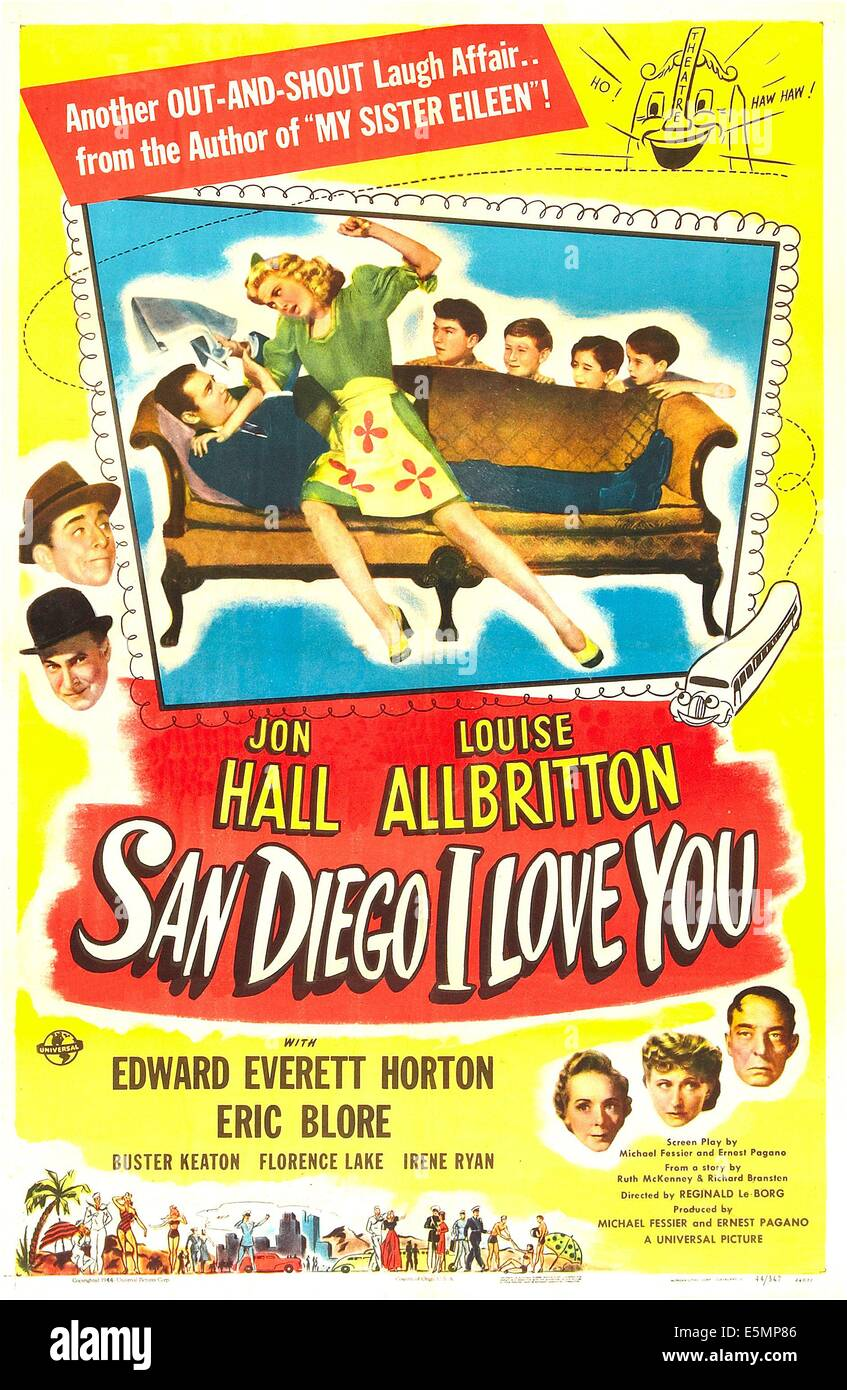 SAN DIEGO I LOVE YOU, US poster, Jon Hall, Louise Allbritton (sofa), behind sofa from left: Rudy Wissler, Donald - Stock Image