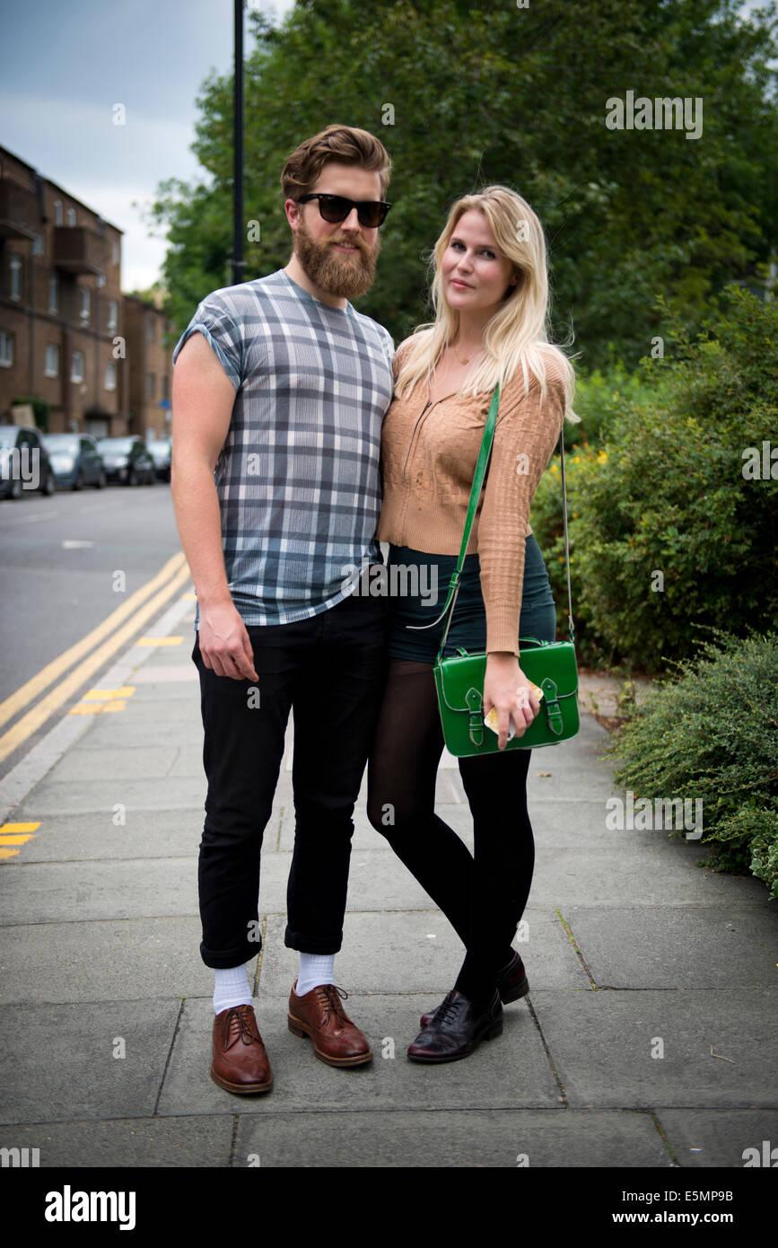 Street Fashion portrait, Columbia Road. East London, UK 2014 - Stock Image