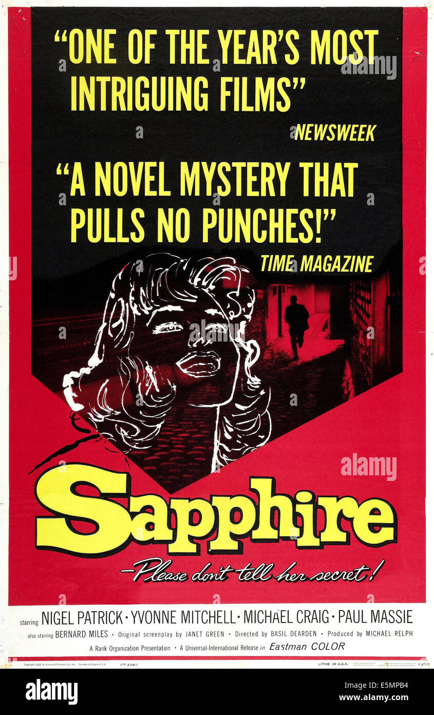 SAPPHIRE, US poster art, 1959. - Stock Image