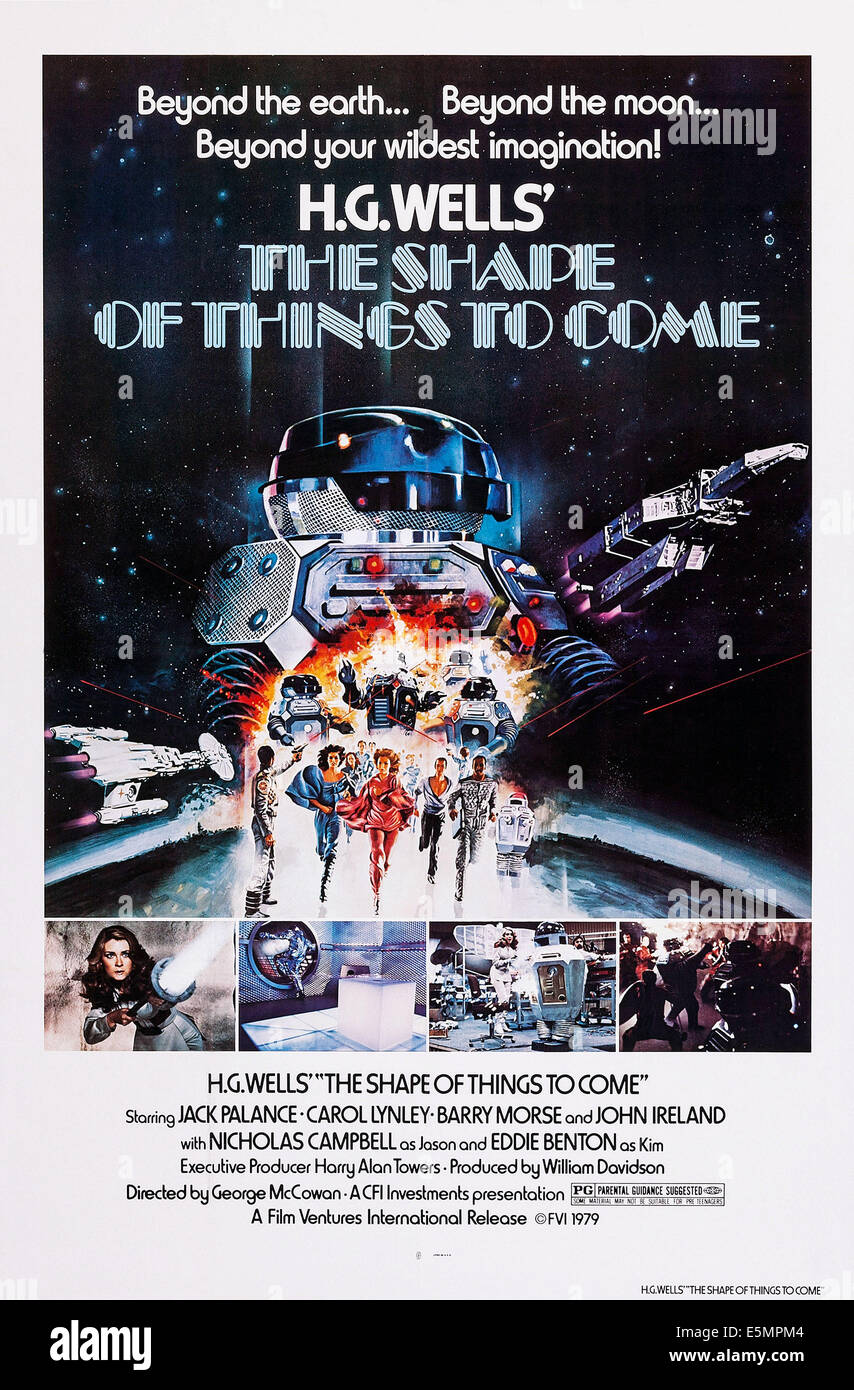 THE SHAPE OF THINGS TO COME, (aka THE SHAPE OF THINGS), US poster art, Anne-Marie Martin, (bottom left), 1979. ©Film - Stock Image
